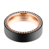 8mm Black Brushed Rose Gold Tungsten Ring with Black Cubic Zirconia Channel, Tungsten Ring, Heaven Culture Jewelry