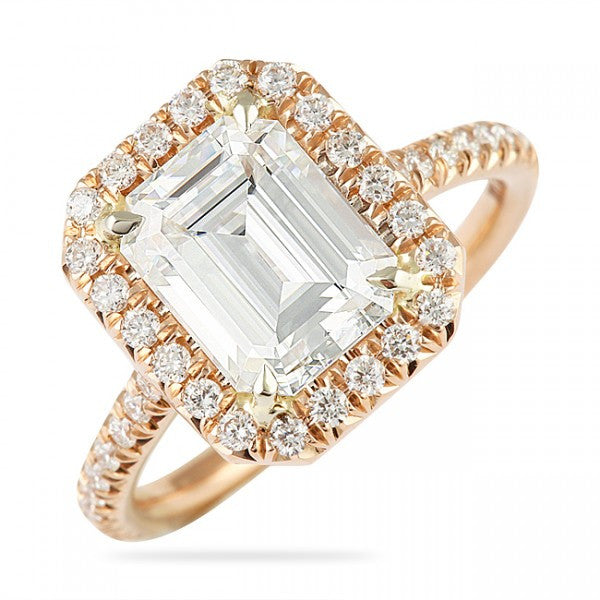 9x7mm Moissanite Emerald Cut Rose Gold Ring, Engagement Ring, Eversmart Beauty