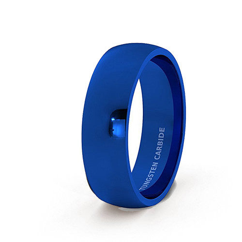 Mens Wedding Band Tungsten Ring 8mm Blue Polished Dome Comfort Fit, Tungsten Ring, Eversmart Beauty