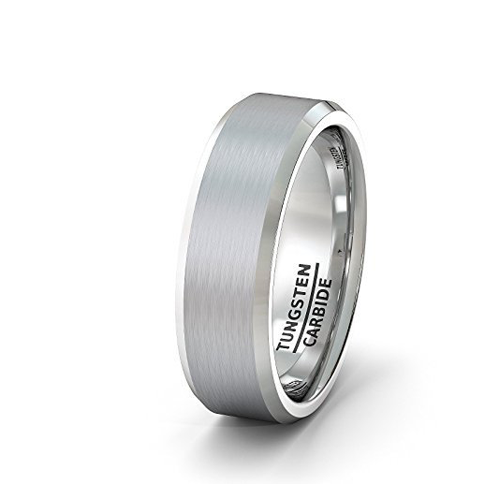 Mens Wedding Band 8mm Classic Brushed Tungsten Ring Beveled Edge Comfort Fit, Tungsten Ring, Heaven Culture Jewelry