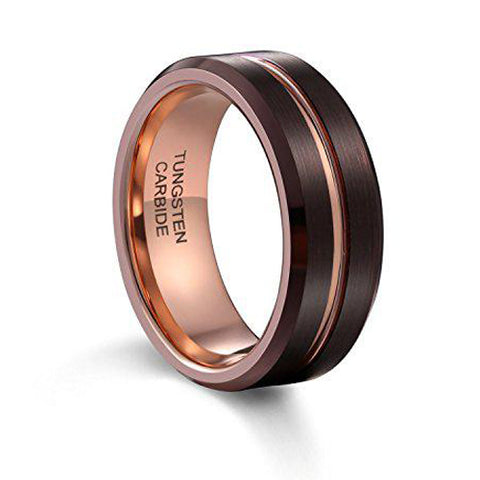 8mm Wedding Band Ring Espresso Brown Brushed Thin Rose Gold Groove Beveled Edge Tungsten Ring, Tungsten Ring, Eversmart Beauty