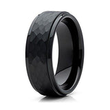 8mm Black Hammered Tungsten Carbide Wedding Band Stepped Edge Mens Comfort Fit Ring, Tungsten Ring, Eversmart Beauty