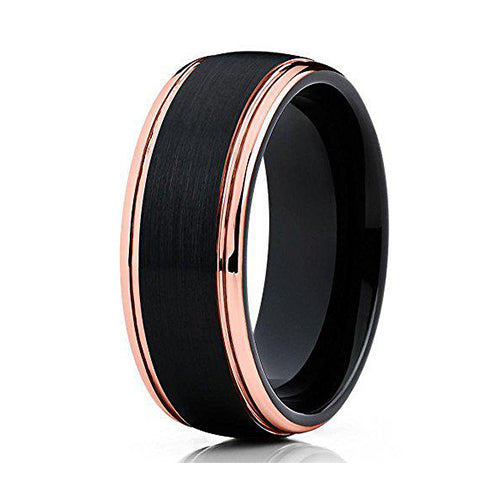 Rose Gold Tungsten Wedding Band Black Tungsten Ring Men & Women 18k Rose Gold Tungsten Comfort Fit, Tungsten Ring, Heaven Culture Jewelry