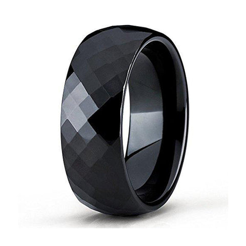 8mm Black Tungsten Carbide Wedding Band Diamond Cut Design Ring Comfort Fit Men & Women, Tungsten Ring, Heaven Culture Jewelry