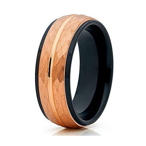 8mm Brushed Rose Gold Hammered Tungsten Carbide Wedding Ring Center Groove Black Unique Edges Inlay Band Unisex, Tungsten Ring, Heaven Culture Jewelry