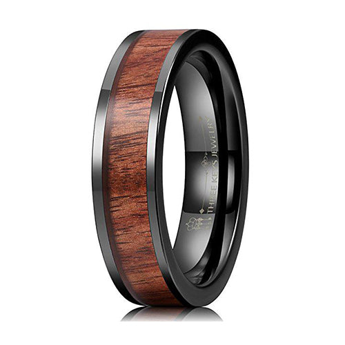 Three Keys Jewelry 8MM Black Ceramic Wedding Ring with Koa Wood Inlay Flat Wedding Band Engagement Ring, Tungsten Ring, Heaven Culture Jewelry