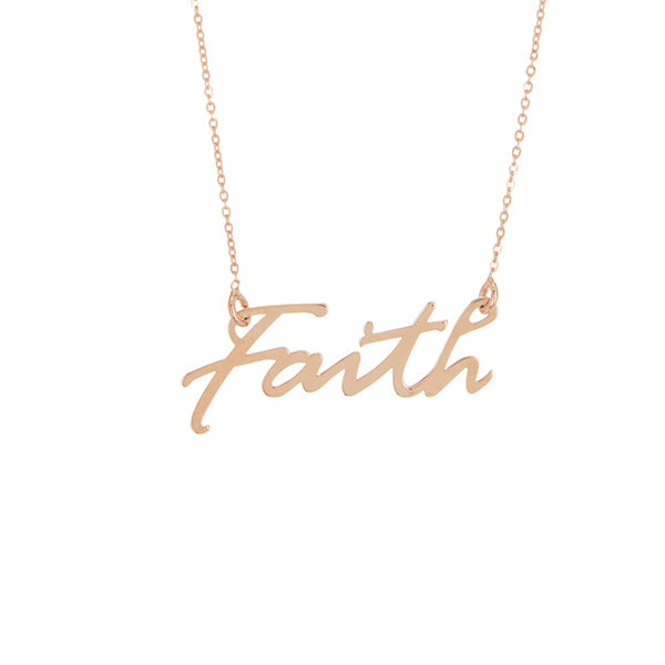 Faith Pendant 14K Rose Gold Necklace, , Heaven Culture Jewelry