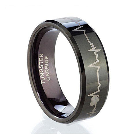 8mm Heart for God Tungsten Ring, Tungsten Ring, Heaven Culture Jewelry