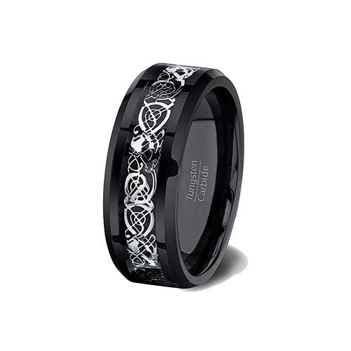 Mens Wedding Band Black Tungsten Ring High Polished Celtic Dragon Design Beveled Edge 8mm Comfort Fit, Tungsten Ring, Heaven Culture Jewelry