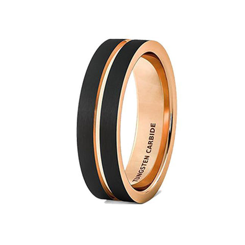 Mens Wedding Band Brushed Black Tungsten Ring 6mm Rose Gold Groove Flat Edge Comfort Fit, Tungsten Ring, Heaven Culture Jewelry