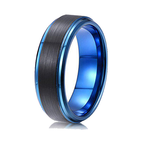Men's Tungsten Ring 8mm Black Brushed Surface Dark Blue Step Edge Wedding Band, Tungsten Ring, Heaven Culture Jewelry