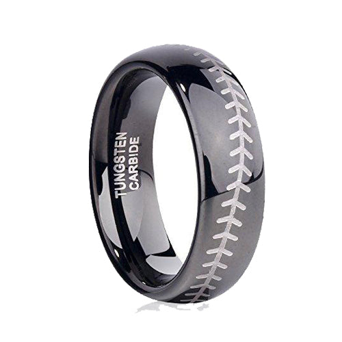 Sports-Symbology Baseball Engraved 6mm Black Domed Tungsten Ring, Tungsten Ring, Heaven Culture Jewelry