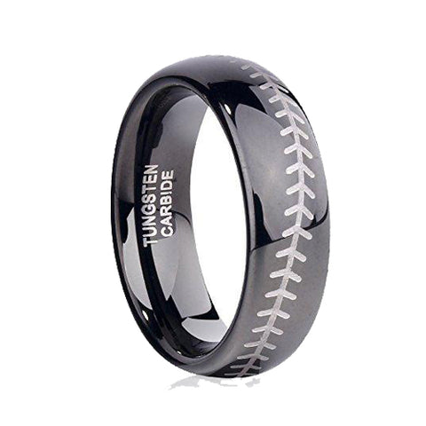 Sports-Symbology Baseball Engraved 6mm Black Domed Tungsten Ring, Tungsten Ring, Eversmart Beauty