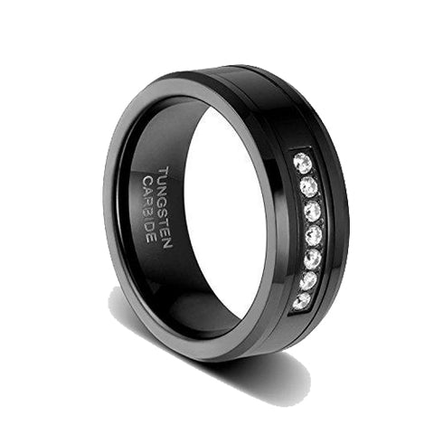 8mm Black High Polished Tungsten Ring with Cubic Zirconia Beveled Edge Comfort Fit, Tungsten Ring, Eversmart Beauty