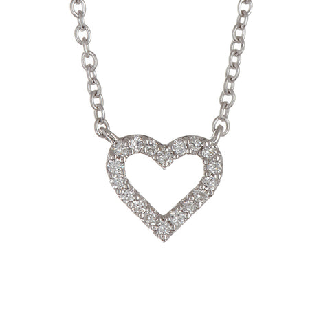 14K White Gold God's Heart Diamond Pendant - 0.25ctw, Diamond Heart Necklace, Eversmart Beauty