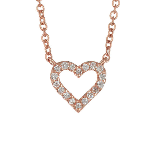 14K Rose Gold Petite Open Heart Diamond Pendant - 0.05 ctw, 14k Gold Trinity Diamond Necklace, Eversmart Beauty