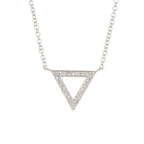 14K White Gold Diamond Pave Trinity Pendant Necklace - 0.12 ctw, 14k Gold Trinity Diamond Necklace, Heaven Culture Jewelry