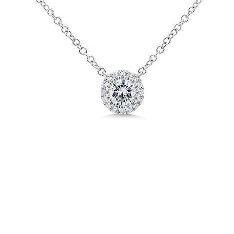 14K White Gold Round Moissanite Necklace - 0.25 ctw, Heaven Culture Forever One Moissanite Necklace, Eversmart Beauty