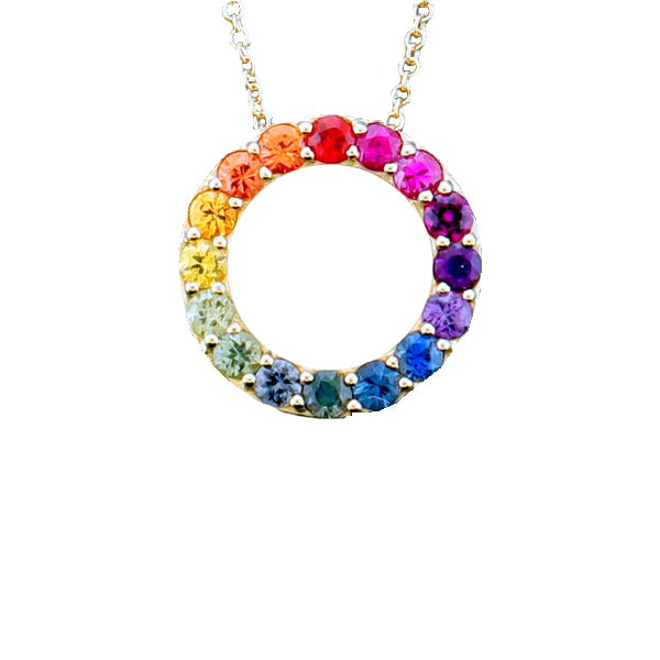 14K Yellow Gold Rainbow Sapphire Necklace, Heaven Culture Trinity Necklace, Heaven Culture Jewelry
