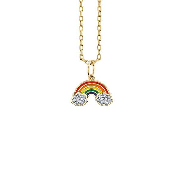 14K Yellow Gold and Diamond Rainbow Necklace, Heaven Culture Trinity Necklace, Eversmart Beauty