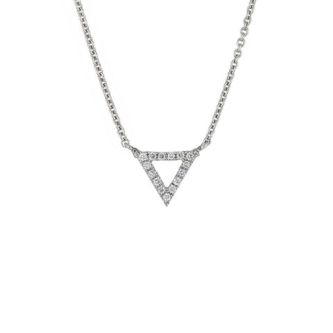14K White Gold Diamond Trinity Pendant Necklace, 14k Gold Trinity Diamond Necklace, Eversmart Beauty