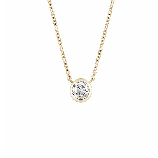 14K Yellow Gold Bezel Set Diamond Solitaire Pendant Necklace - 0.25 ctw, , Heaven Culture Jewelry