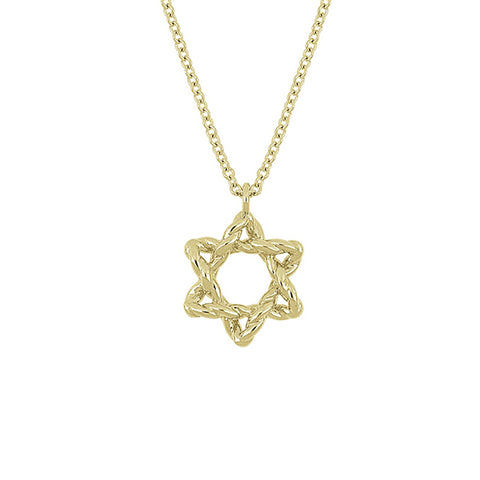 14K Yellow Gold Beaded Star of David Pendant Necklace, Star of David Gold Necklace, Eversmart Beauty