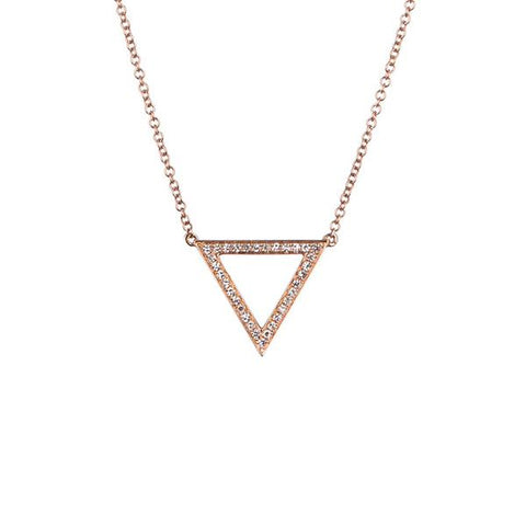 14K Rose Gold Pave Diamond Trinity Pendant Necklace - 0.25 ctw, Heaven Culture Trinity Necklace, Eversmart Beauty