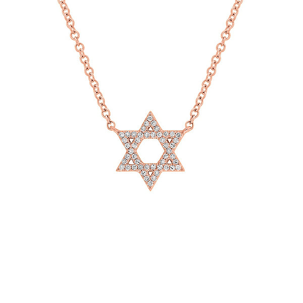14K Rose Gold Star of David Diamond Pendant Necklace, Rose Gold Star of David Diamond Necklace, Heaven Culture Jewelry
