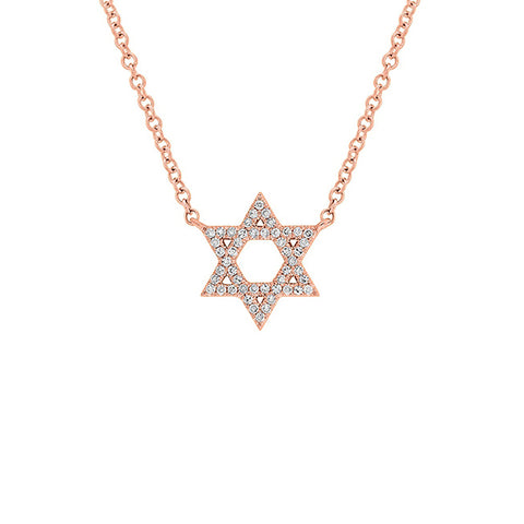 14K Rose Gold Star of David Diamond Pendant Necklace, Rose Gold Star of David Diamond Necklace, Eversmart Beauty