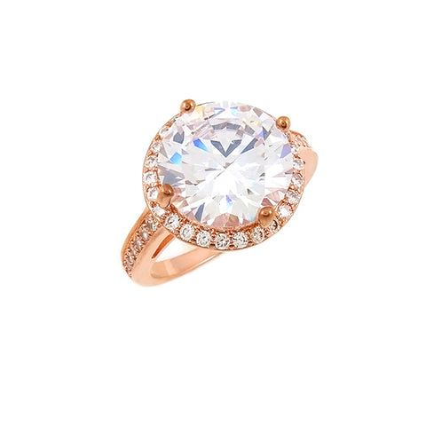 14K Rose Gold 15mm Center White Forever One Moissanite Halo Ring (with diamond halo & band), Heaven Culture Forever One Moissanite Ring, Heaven Culture Jewelry