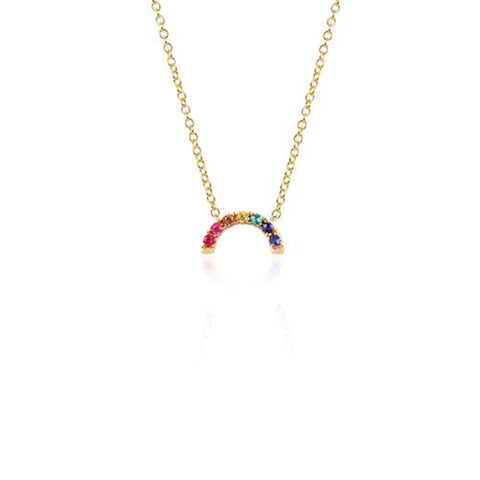 14K Yellow Gold Rainbow Necklace, Heaven Culture Trinity Necklace, Heaven Culture Jewelry