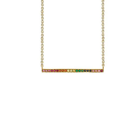 14K Yellow Gold Long Bar Rainbow Necklace, Heaven Culture Trinity Necklace, Heaven Culture Jewelry