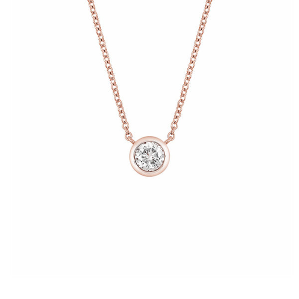 14K Rose Gold Bezel Set Diamond Solitaire Pendant Necklace - 0.50 ctw, Heaven Culture Necklace, Heaven Culture Jewelry