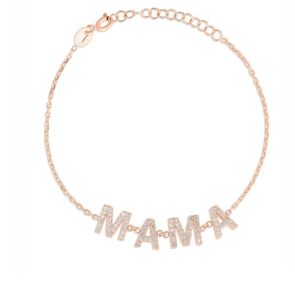 14K Rose Gold Diamond Mama Bracelet, MAMA Necklace, Heaven Culture Jewelry