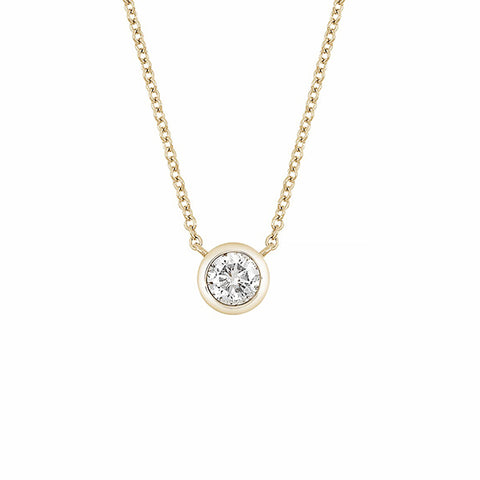 14K Yellow Gold Bezel Set Diamond Moissanite Pendant Necklace - 0.50 ctw, Forever One Moissanite Heaven Culture Necklace, Heaven Culture Jewelry