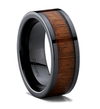9MM Black Ceramic Flat Top Wedding Band Ring with Real Koa Wood Inlay Comfort Fit, Tungsten Ring, Eversmart Beauty