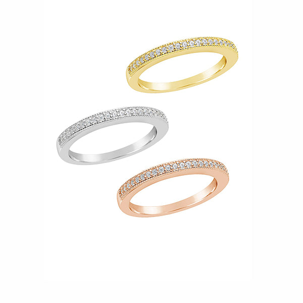 14K Rose Gold, Yellow Gold, and White Gold Diamond Pave Stacking Rings (Set of 3 Individual Rings), Heaven Culture Ring, Heaven Culture Jewelry