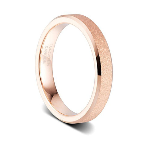 4mm Women's Rose Gold Sandblasted Finish Tungsten Wedding Ring High Polished Beveled Edge, Tungsten Ring, Eversmart Beauty