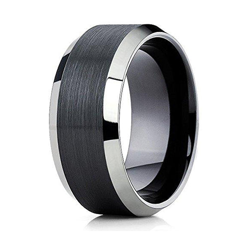 10mm Black Tungsten Carbide Wedding Band Shiny Edges Men & Women Comfort Fit Ring, Tungsten Ring, Eversmart Beauty