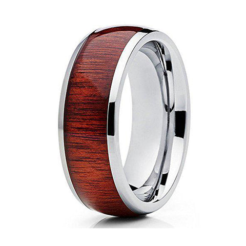 8mm Titanium Koa Wood Contemporary Design Comfort Fit Ring, Tungsten Ring, Heaven Culture Jewelry