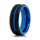 Blue Tungsten Wedding Band 8mm Black Tungsten Wedding Band Men & Women Blue Tungsten Ring Engagement Ring Comfort Fit Ring, Tungsten Ring, Eversmart Beauty