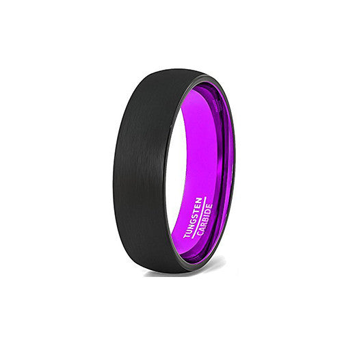 Unique Purple Magenta and Black 8mm Tungsten Wedding Ring