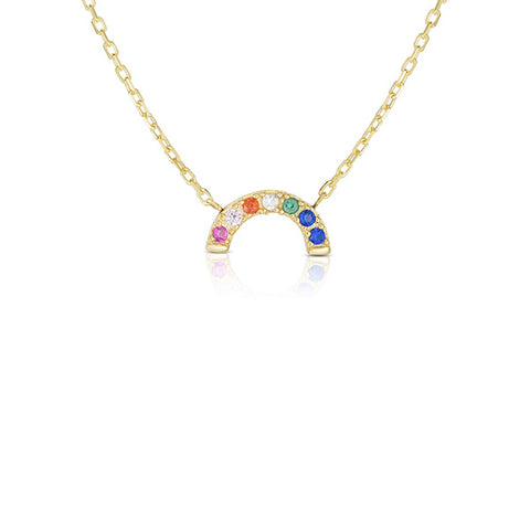 14K Yellow Gold Pave Diamond Rainbow Pendant Necklace, , Heaven Culture Jewelry
