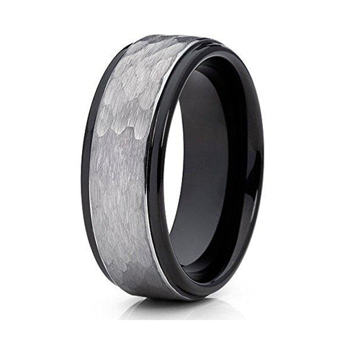 8mm Gray Tungsten Carbide Wedding Band Hammered Design Men & Women Comfort Fit, Tungsten Ring, Heaven Culture Jewelry