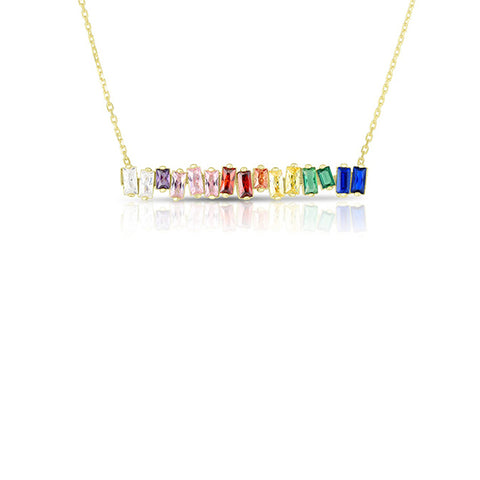14K Yellow Gold Rainbow Pendant Necklace, Heaven Culture Necklace, Eversmart Beauty