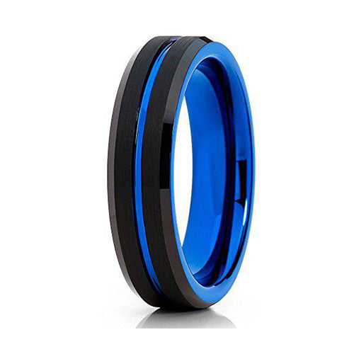 6mm Black Tungsten Carbide Wedding Ring Blue Groove Inlay Beveled Edges Mens Band, Tungsten Ring, Heaven Culture Jewelry