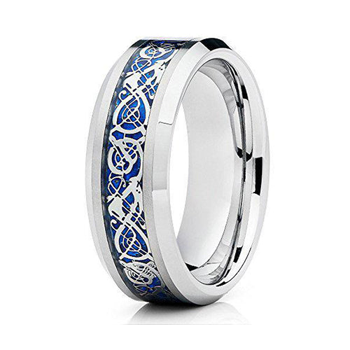 8mm Tungsten Carbide Heaven's Blue Aragon Design Comfort Fit Ring, Tungsten Ring, Heaven Culture Jewelry
