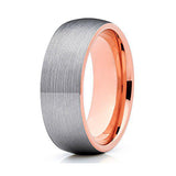 8mm Brushed Gray Tungsten Carbide Wedding Ring Rose Gold Inlay Dome Comfort Fit Band, Tungsten Ring, Heaven Culture Jewelry