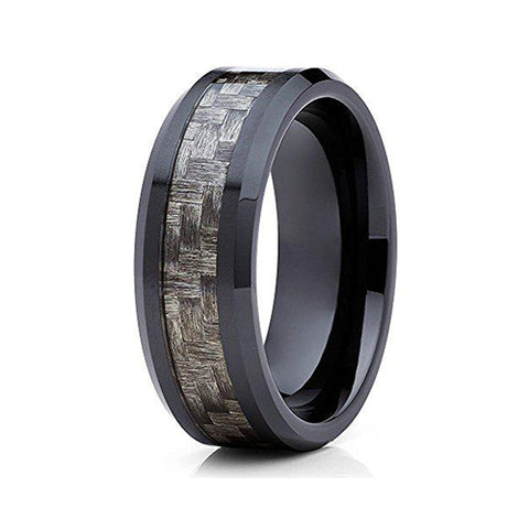 8mm Black Ceramic Wedding Ring Carbon Fiber Inlay Classic Design Unisex Mens Womens Band, Tungsten Ring, Eversmart Beauty